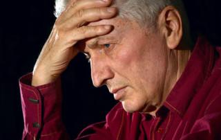 Sad man have a prostate pain
